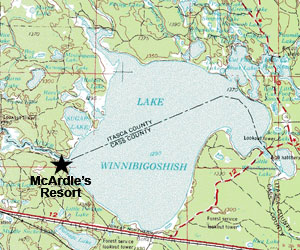 McArdle's Resort is located where the Mississippi River enters Lake Winnibigoshish